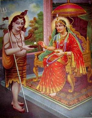 image of Annapurnadevi, goddess of plenty, giving alms to Shiva