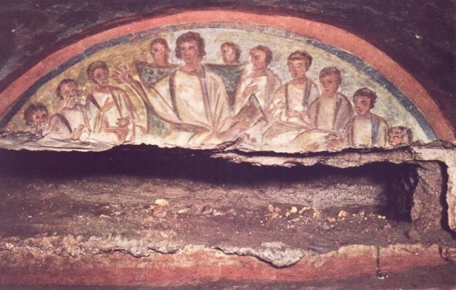 catacomb painting depicting Jesus as Teacher