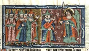 Image - Joshua (weaing a Jewish hat) meets an angel in a medieval miniature