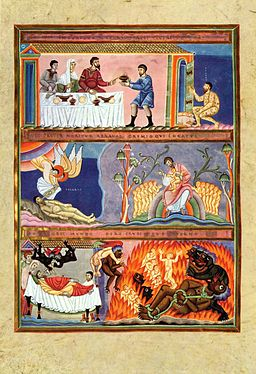 Image of a manuscript illumination of the parable of the rich man and Lazarus