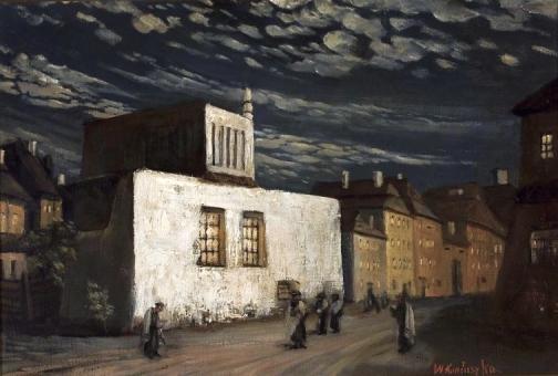 Image of synagogue at sundown