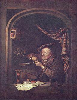 image of schoolmaster sharpening quill