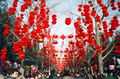 image Chinese red lanterns at new year celebration