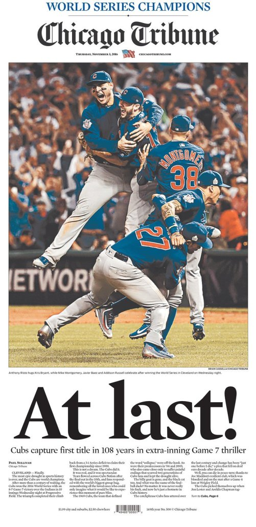 Image Chicago Tribune front page