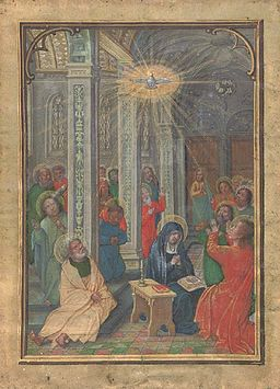 Image Pentecost from a medieval book of hours