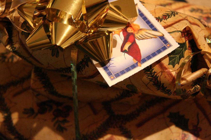wrapped package with angel tag