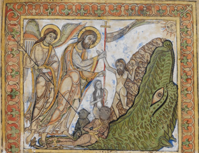 Image - harrowing of hell from St Swithun Psalter
