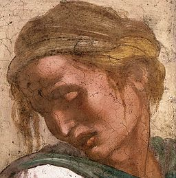 Image Michelangelo Prophet Jeremiah detail - the figure of Zion lamenting