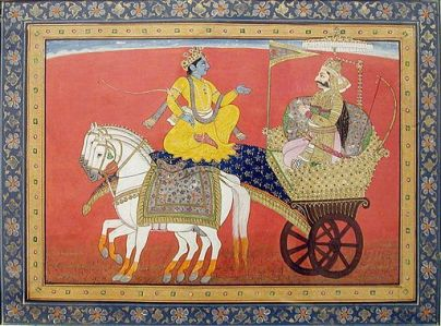 Image Mughal illustration of Krishna and Arjuna