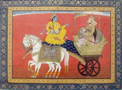 Image Mughal illustration of Krishna and Arjuna