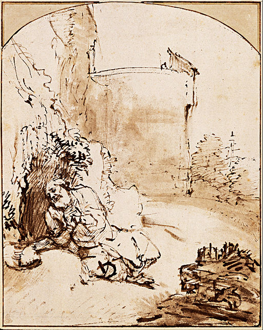 pen and ink drawing by Rembrandt of the Prophet Jonah