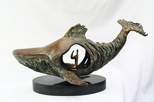 sculpture of Jonah in the belly of the fish