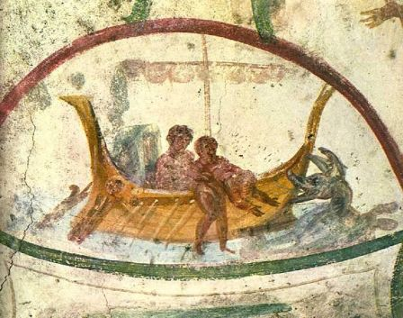 Fresco of Jonah being cast into the sea