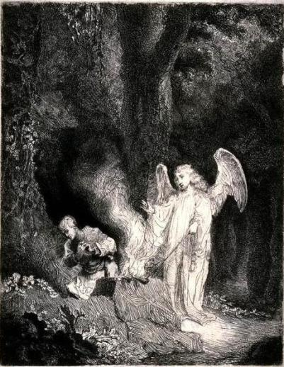 etching of Gideon and the angel of YHWH under an oak tree