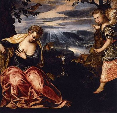 Tintoretto painting of annunciation to Manoah's wife