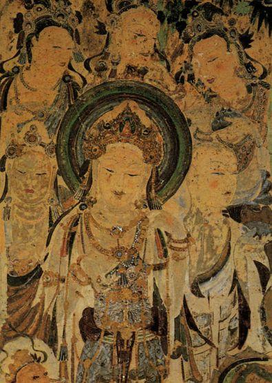 cave mural of Avalokiteshvara, other bodhisattvas and mendicant