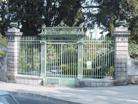photo of a university garden gate