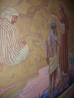 painting of the baptism of the Ethiopian by St Philip