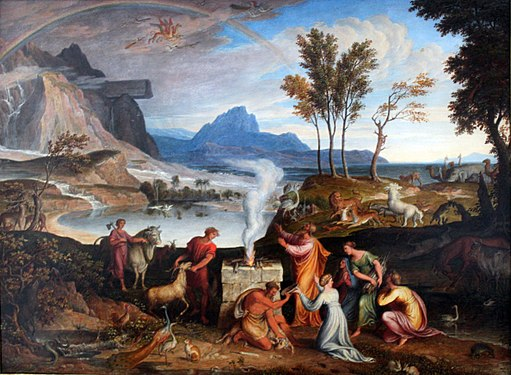 Painting of Noah's sacrifice following the flood