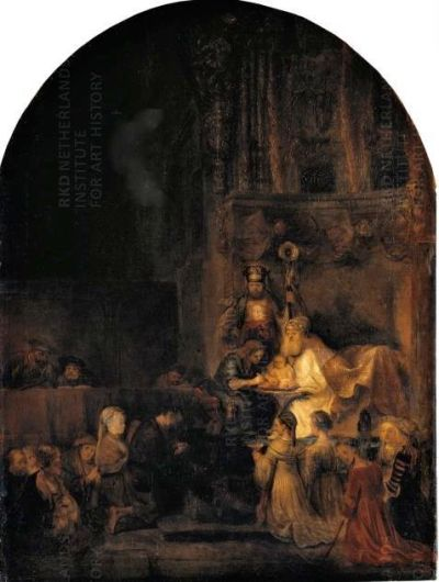 Painting by Rembrandt of a ritual circumcision of an infant