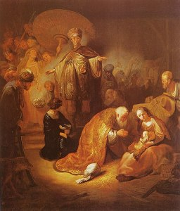 painting by Rembrandt showing Magi adoring infant Christ