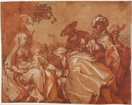 Etching of the adoration of the magi