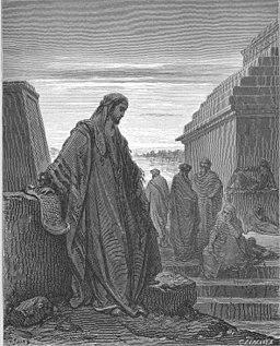 woodcut of Daniel in a pose of lament