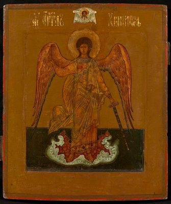 icon of guardian angel with sword in hand