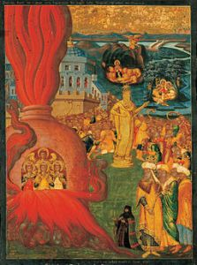 Icon showing golden image, fiery furnace, and lion's den