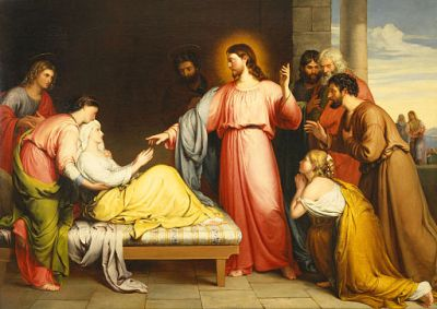 painting of Jesus healing a woman held up in bed by another woman
