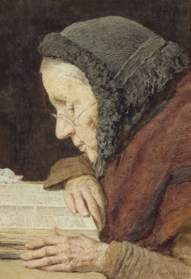 painting of an old woman with shawl and cap reading a Bible