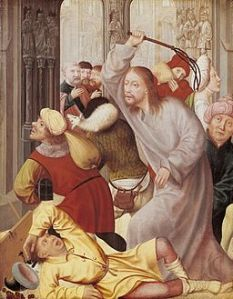 16th century Dutch painting of Jesus cleansing the temple