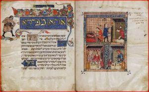 Rylands Haggadah illustration - Paschal lamb and Seder meal