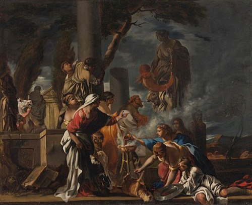 Painting of Solomon sacrificing to idols surrounded by his wives