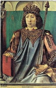 A painting of Solomon seated with book and scepter