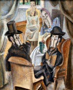 painting of two men and two women visiting on the Sabbath