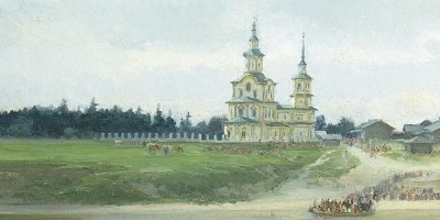 painting of church on Easter morning