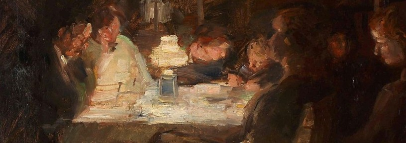 painting of a family around a table