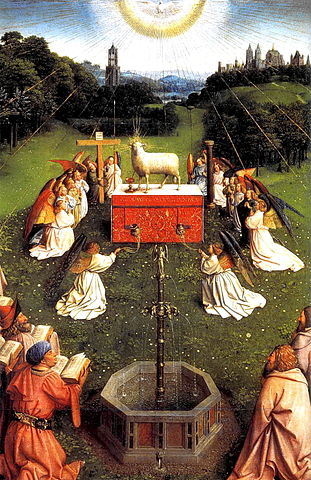 center of the Ghent altarpiece, with haloed lamb and adoring angels