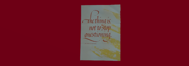 "Calligraphy ""The thing is not to stop questioning"" Albert Einstein"