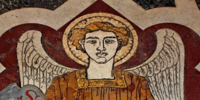 Mosaic image of angel representing St Matthew