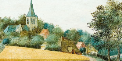 painting of medieval church in summer