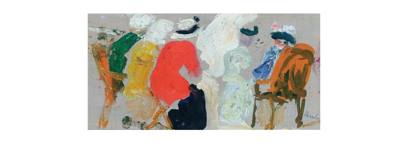 Painting of figures in a conversation