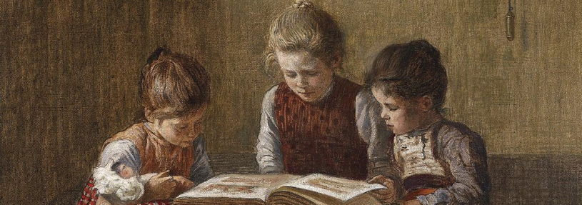 illustration of three young girls reading a book