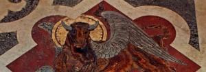 mosaic of ox representing St. Luke