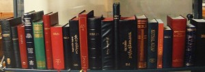 Bibles on a library shelf