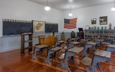 Interior of restored one-room schoolhouse, Beckley Coal Camp, WV