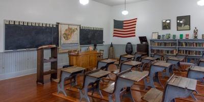 Interior of restored one-room schoolhouse, Beckley Coal Camp, WV