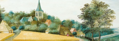 village scene in summer with addition of US flag