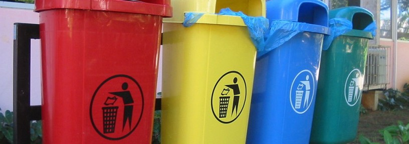 red yellow blue green recycling trash cans